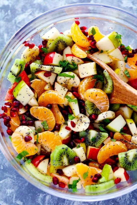 The Best Winter Fruit Salad is also great in the summer and is filled with clementines, kiwi, pears, apples, and pomegranate.  It gets tossed in a delicious honey lime poppyseed dressing and you won't be able to get enough!