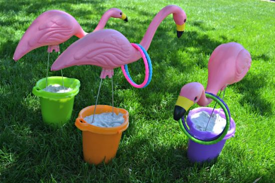 This ring toss screams summer to me. The flamingos, bright colors and sand buckets are perfect for summer fun in the yard with family and friends.