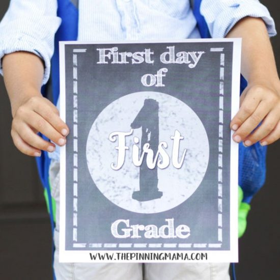 Use these fun signs in full color or chalkboard to snap a picture with your child on the First Day of School!