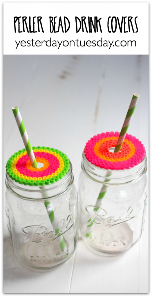 Make Perler Bead Drink Covers for your time out by the pool this summer. Every kid can make their own design!