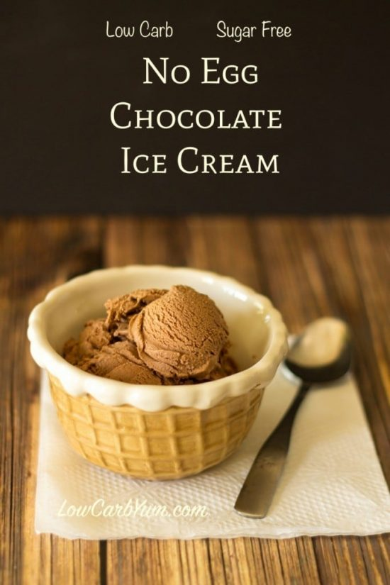 Enjoy this low carb no egg homemade chocolate ice cream any time you want a delicious frozen treat. It's a creamy sugar free ice cream that scoops well.