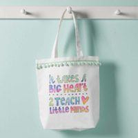 Teacher's Big Heart Watercolor Acrylic Tote Bag