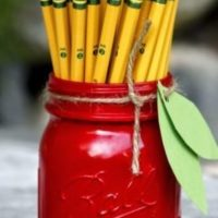 Apple Mason Jar Pencil Holders