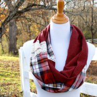 Plaid and Lace Infinity Scarf